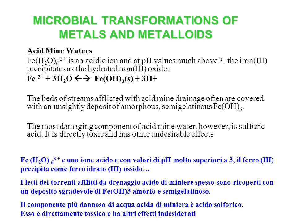 MICROBIAL TRANSFORMATIONS OF METALS AND METALLOIDS Acid Mine Waters Fe(H 2 O) 6 3+ is an acidic ion and at pH values much above 3, the iron(III) preci