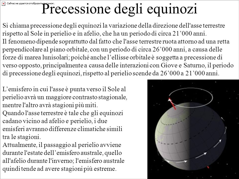 Precessione degli equinozi Si chiama precessione degli equinozi la variazione della direzione dell'asse terrestre rispetto al Sole in perielio e in af