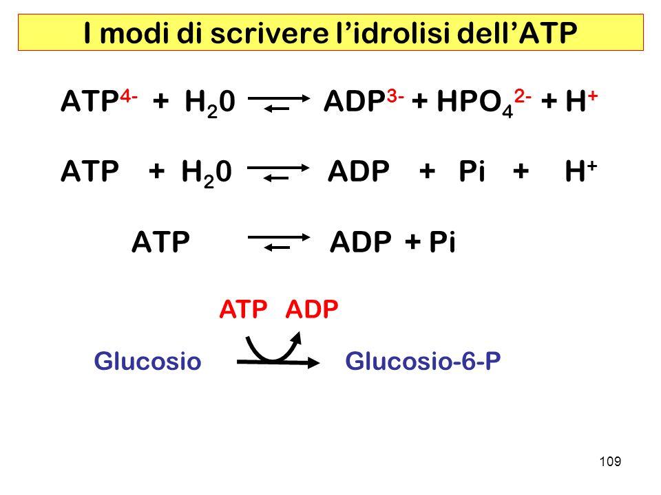 109 I modi di scrivere lidrolisi dellATP ATP 4- + H 2 0 ADP 3- + HPO 4 2- + H + ATP + H 2 0 ADP + Pi + H + ATP ADP + Pi Glucosio Glucosio-6-P ATP ADP