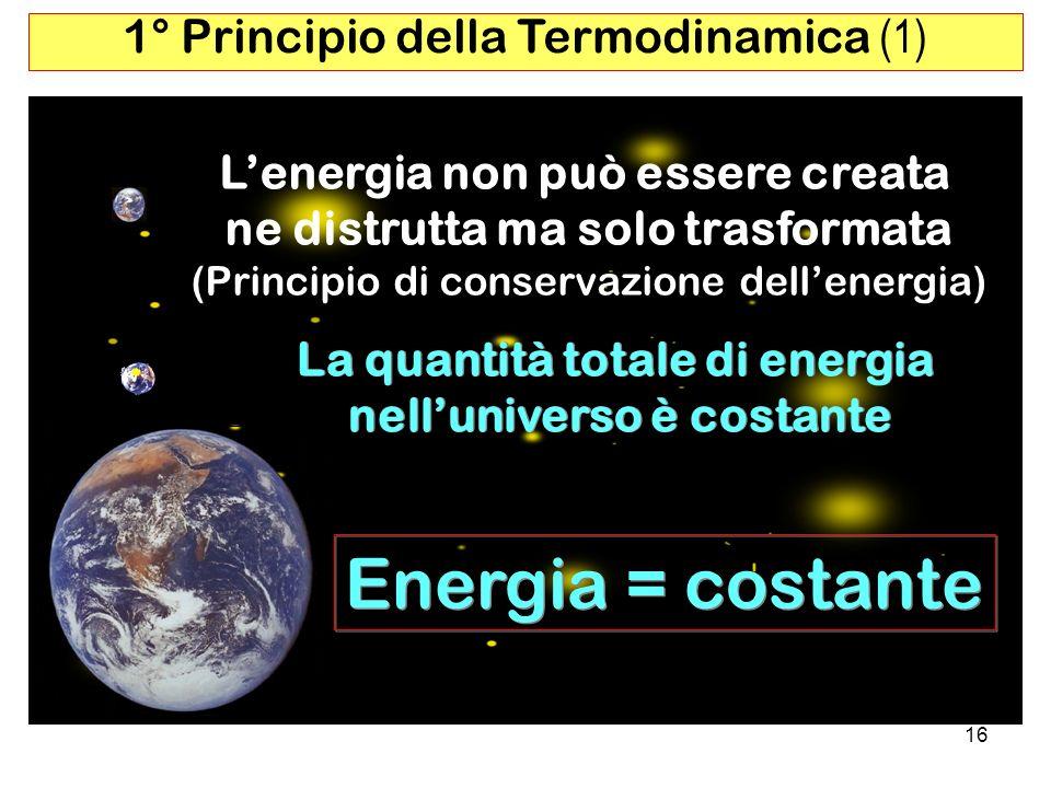 16 1° Principio della Termodinamica (1) La quantità totale di energia nelluniverso è costante La quantità totale di energia nelluniverso è costante Energia = costante Lenergia non può essere creata ne distrutta ma solo trasformata (Principio di conservazione dellenergia)