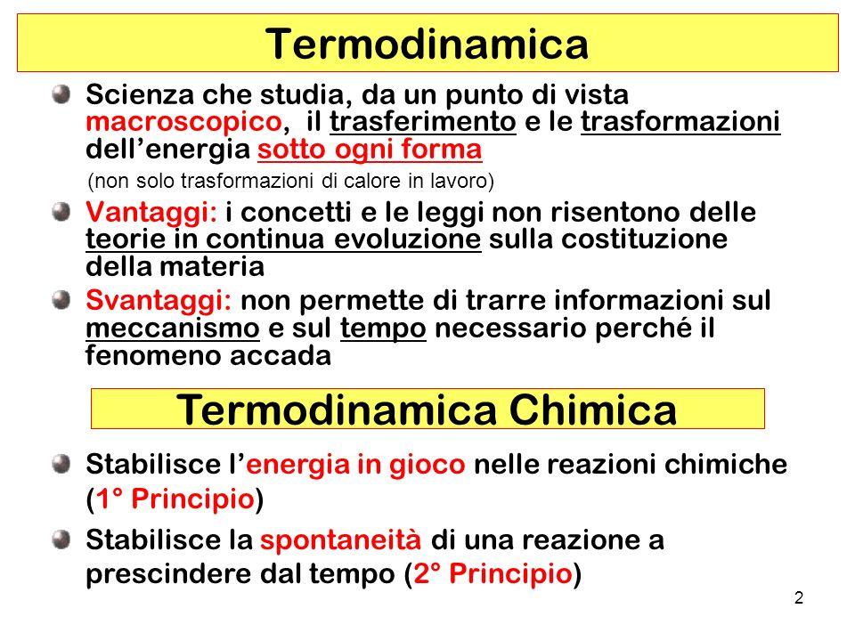 3 Si definisce Sistema Termodinamico qualsiasi porzione delluniverso presa in esame; il resto delluniverso viene definito oAmbiente o Intorno Sistema + Ambiente = Universo Sistema Definizione di Sistema Termodinamico Ambiente