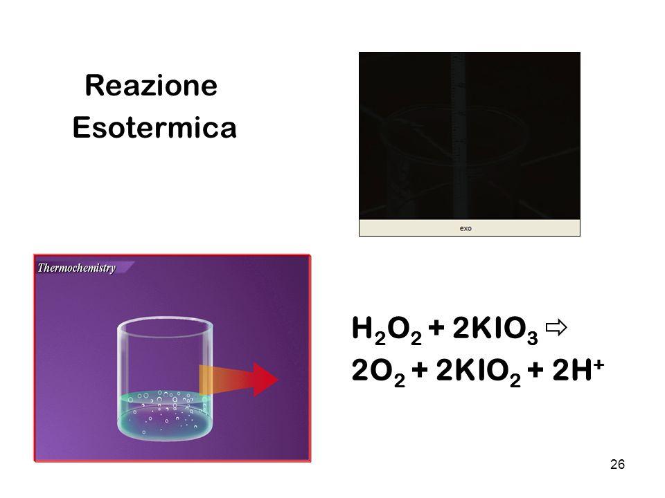 26 Reazione Esotermica H 2 O 2 + 2KIO 3 2O 2 + 2KIO 2 + 2H +