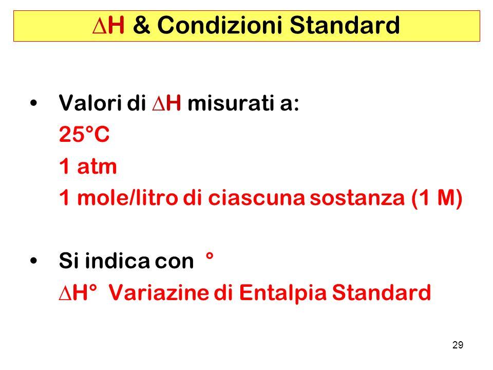 29 H & Condizioni Standard Valori di H misurati a: 25°C 1 atm 1 mole/litro di ciascuna sostanza (1 M) Si indica con ° H° Variazine di Entalpia Standard
