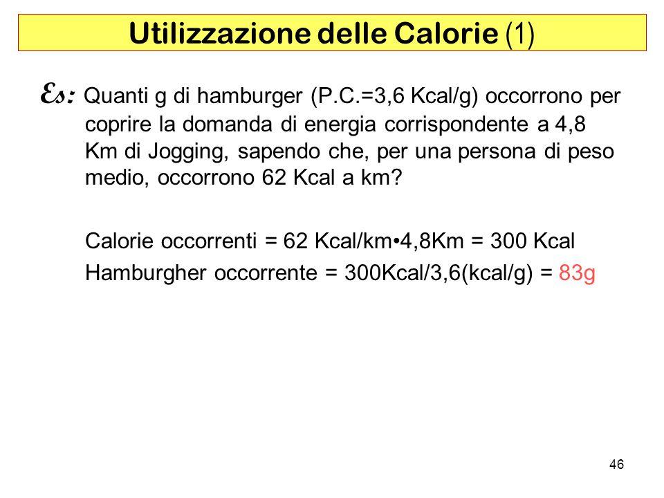 46 Es: Quanti g di hamburger (P.C.=3,6 Kcal/g) occorrono per coprire la domanda di energia corrispondente a 4,8 Km di Jogging, sapendo che, per una persona di peso medio, occorrono 62 Kcal a km.