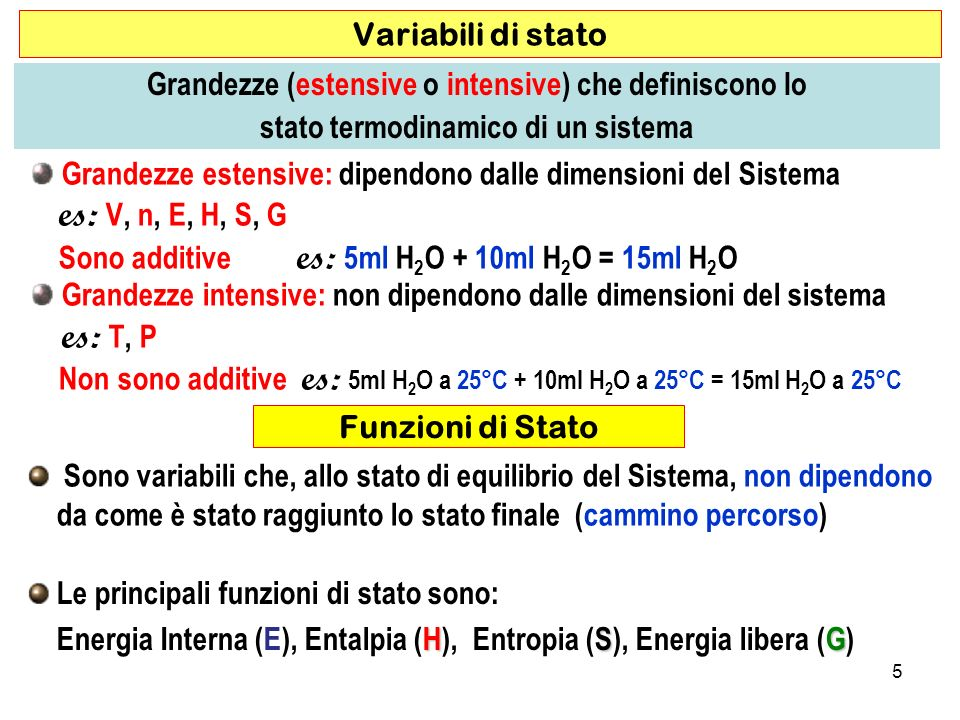 5 Grandezze estensive: dipendono dalle dimensioni del Sistema es: V, n, E, H, S, G Sono additive es: 5ml H 2 O + 10ml H 2 O = 15ml H 2 O Grandezze intensive: non dipendono dalle dimensioni del sistema es: T, P Non sono additive es: 5ml H 2 O a 25°C + 10ml H 2 O a 25°C = 15ml H 2 O a 25°C Variabili di stato Grandezze (estensive o intensive) che definiscono lo stato termodinamico di un sistema Sono variabili che, allo stato di equilibrio del Sistema, non dipendono da come è stato raggiunto lo stato finale (cammino percorso) Funzioni di Stato Le principali funzioni di stato sono: HSG Energia Interna (E), Entalpia (H), Entropia (S), Energia libera (G)