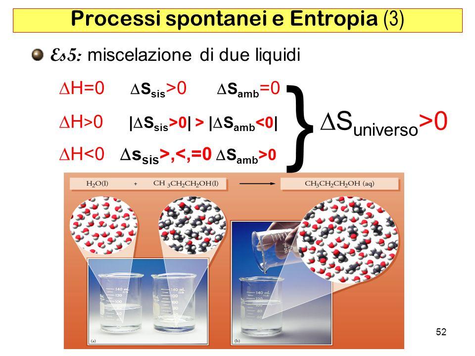 52 Processi spontanei e Entropia (3) Es5: miscelazione di due liquidi H=0 S sis >0 S amb =0 H > 0 | S sis >0| > | S amb <0| H, 0 S universo >0 }