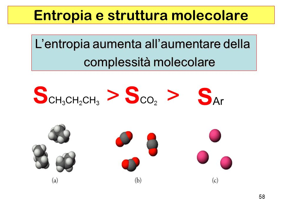 58 Entropia e struttura molecolare Lentropia aumenta allaumentare della complessità molecolare S CH 3 CH 2 CH 3 >S CO 2 > S Ar
