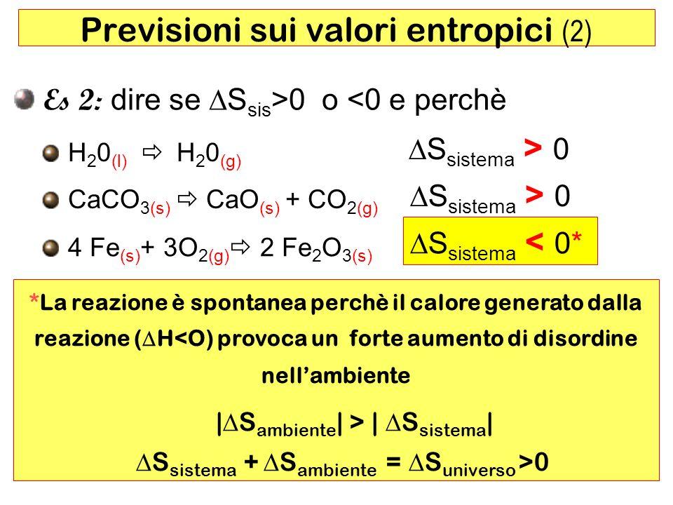 60 Previsioni sui valori entropici (2) Es 2: dire se S sis >0 o <0 e perchè H 2 0 (l) H 2 0 (g) CaCO 3(s) CaO (s) + CO 2(g) S sistema > 0 4 Fe (s) + 3O 2(g) 2 Fe 2 O 3(s) S sistema < 0* *La reazione è spontanea perchè il calore generato dalla reazione ( H<O) provoca un forte aumento di disordine nellambiente | S ambiente | > | S sistema | S sistema + S ambiente = S universo >0