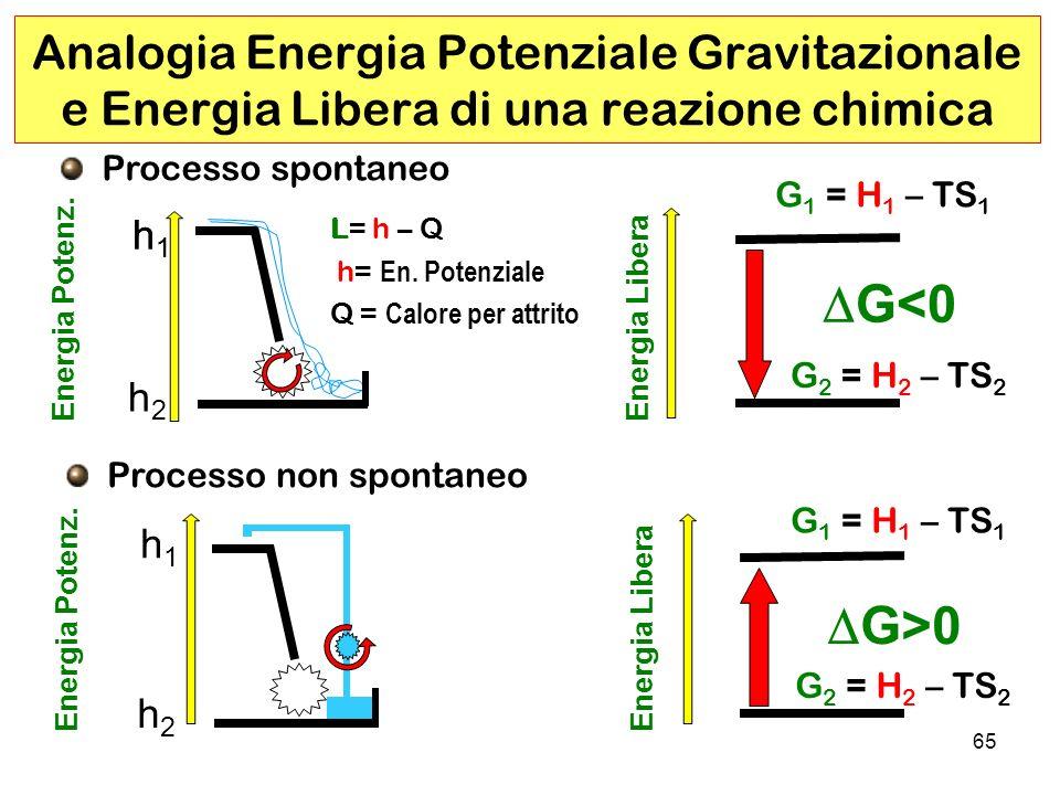 65 Analogia Energia Potenziale Gravitazionale e Energia Libera di una reazione chimica Energia Potenz.