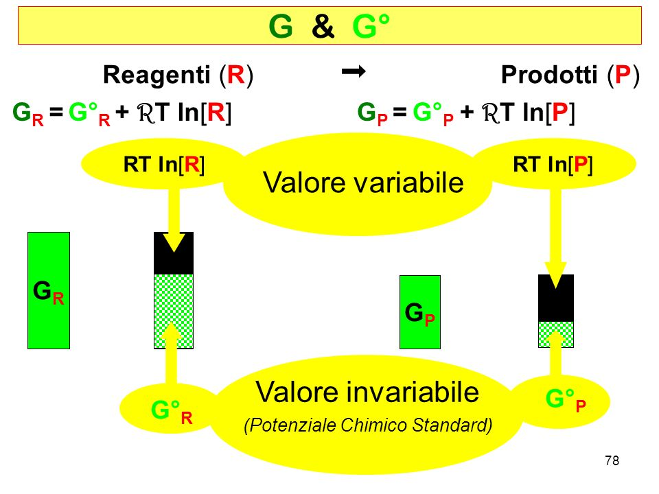 78 G & G° Reagenti (R) Prodotti (P) G P = G° P GPGP GRGR G R = G° R G° R G° P RT ln[R]RT ln[P] Valore variabile Valore invariabile (Potenziale Chimico Standard) + R T ln[R]+ R T ln[P]
