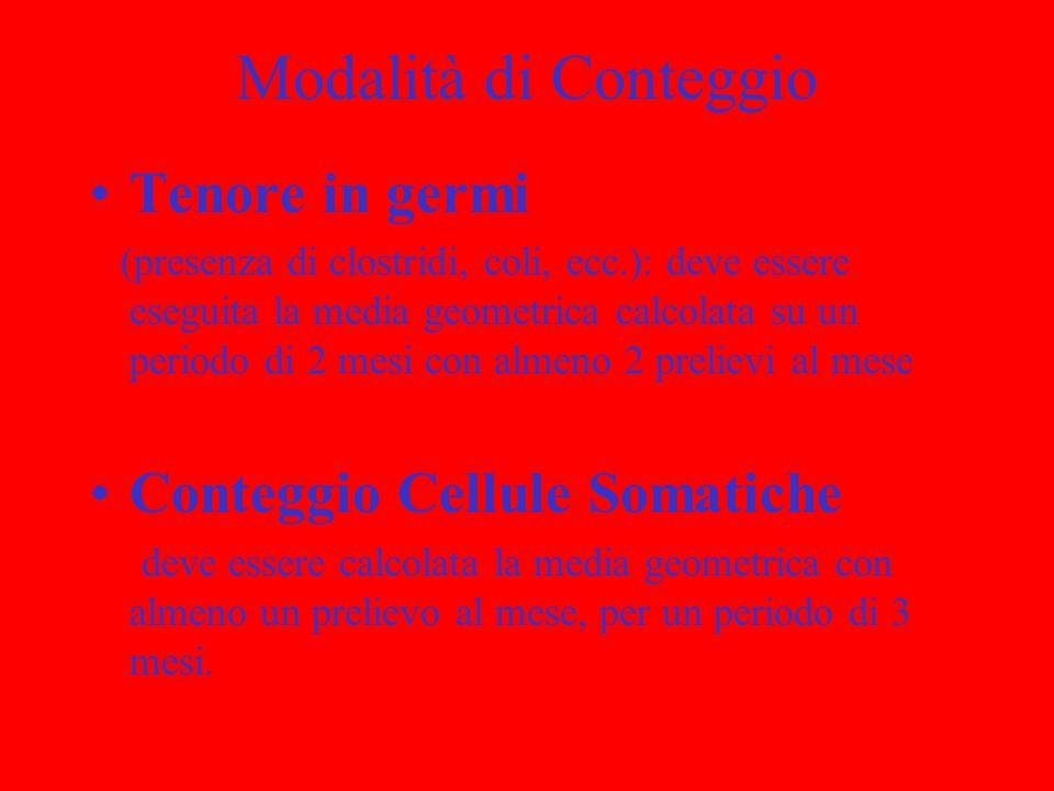Modalità di Conteggio Tenore in germi (presenza di clostridi, coli, ecc.): deve essere eseguita la media geometrica calcolata su un periodo di 2 mesi