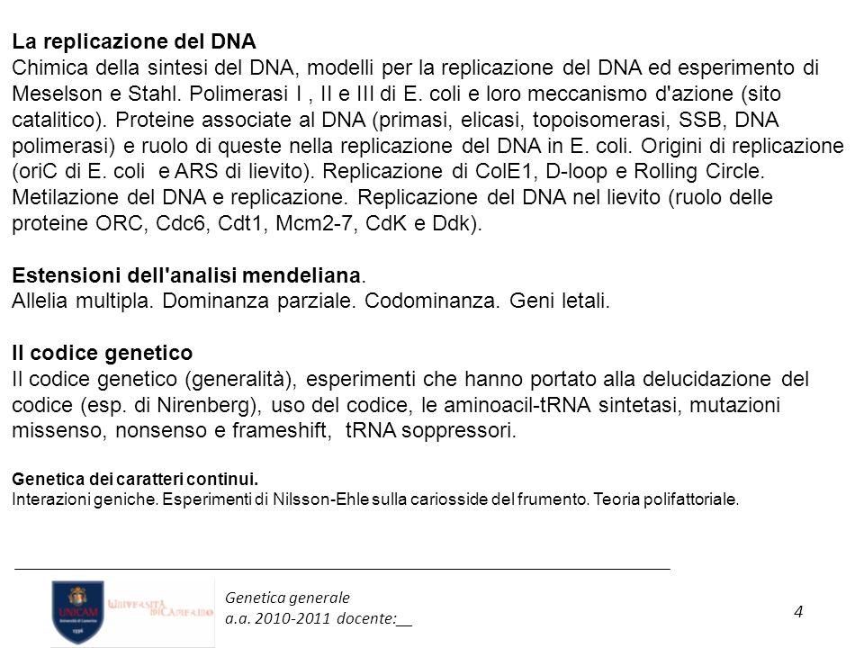 4 Genetica generale a.a. 2010-2011 docente:__ La replicazione del DNA Chimica della sintesi del DNA, modelli per la replicazione del DNA ed esperiment