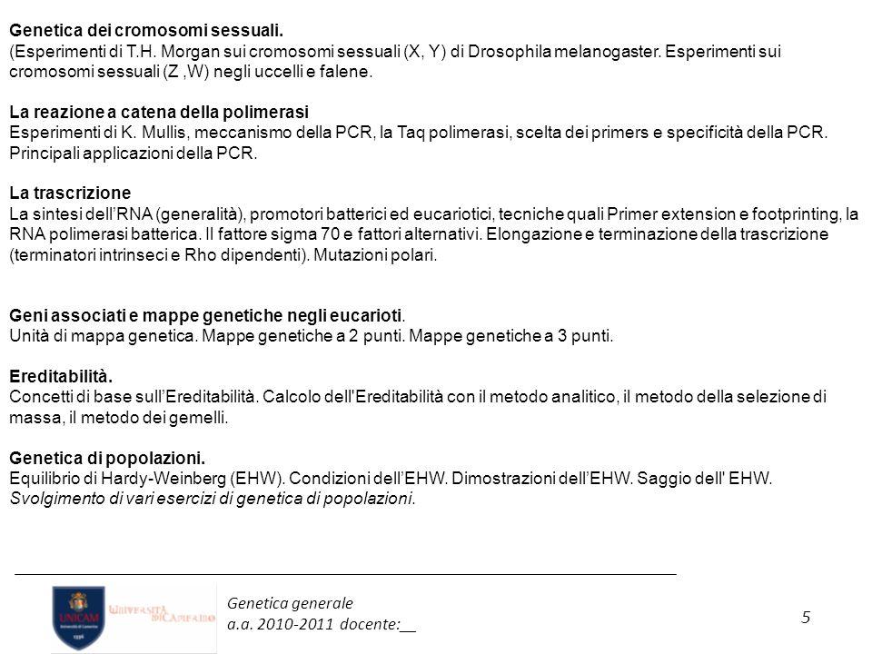 5 Genetica generale a.a. 2010-2011 docente:__ Genetica dei cromosomi sessuali. (Esperimenti di T.H. Morgan sui cromosomi sessuali (X, Y) di Drosophila