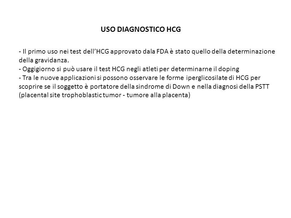 USO DIAGNOSTICO HCG - Il primo uso nei test dellHCG approvato dala FDA è stato quello della determinazione della gravidanza. - Oggigiorno si può usare
