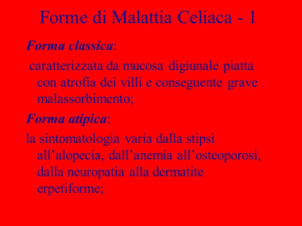 Forme di Malattia Celiaca - 2 Forma latente: Riguarda soggetti con predisposizione genetica, la cui mucosa digiunale è nella norma, ma ad un certo punto della vita si manifesta un effetto enterotossico, reversibile con lastensione al glutine.