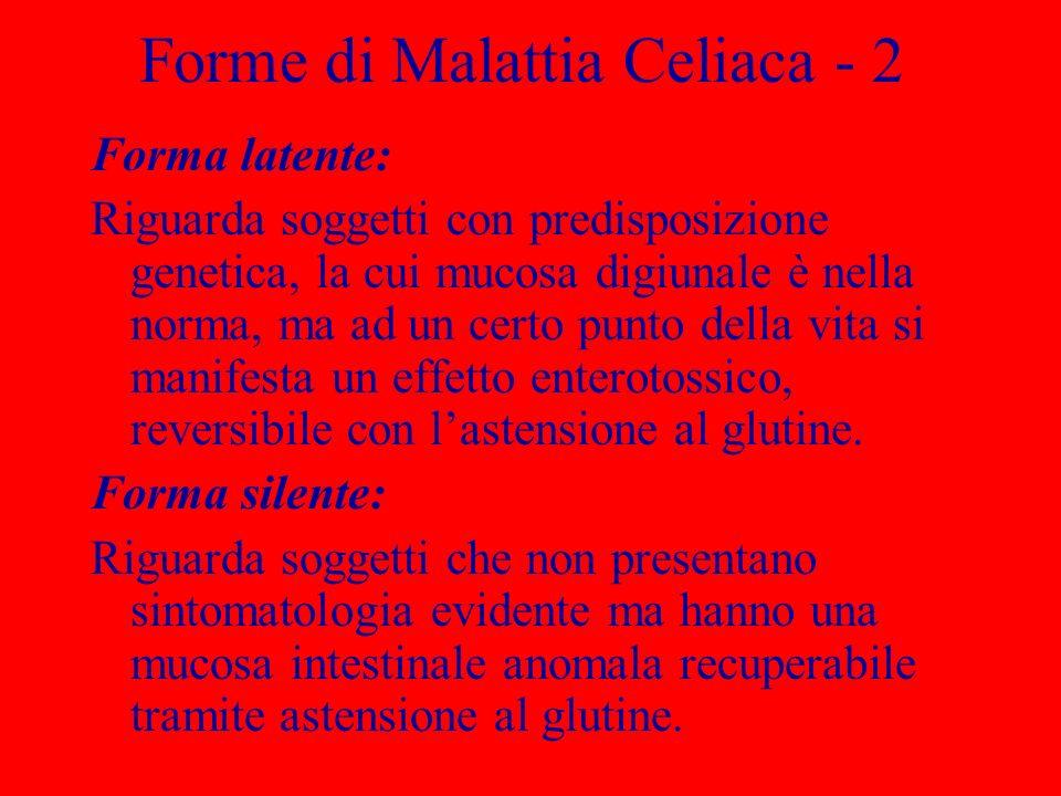 In Italia si calcola un incidenza complessiva di circa 1:180 Incidenza Malattia Celiaca nel Mondo FormaIncidenza Classica1:2.500 – 1:10.000 Atipica1:1.500 Silente (asintomatica)1:1.000 Latente1:300 – 1:500