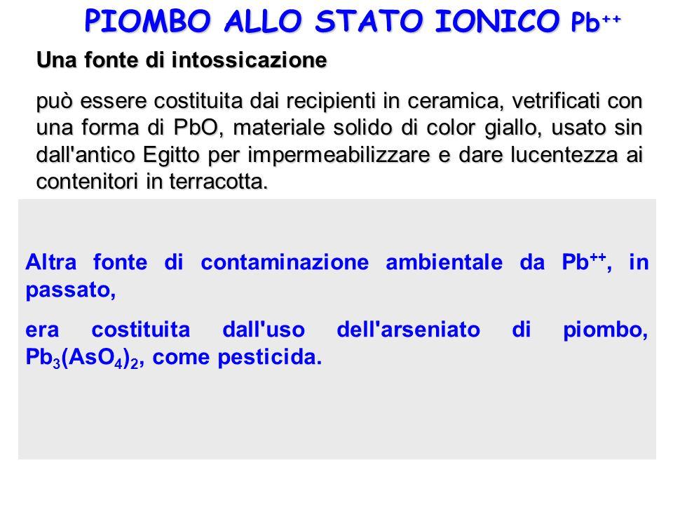 PIOMBO ALLO STATO IONICO Pb ++ Una fonte di intossicazione può essere costituita dai recipienti in ceramica, vetrificati con una forma di PbO, materia