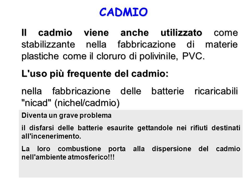 CADMIO Il cadmio viene anche utilizzato come stabilizzante nella fabbricazione di materie plastiche come il cloruro di polivinile, PVC. L'uso più freq