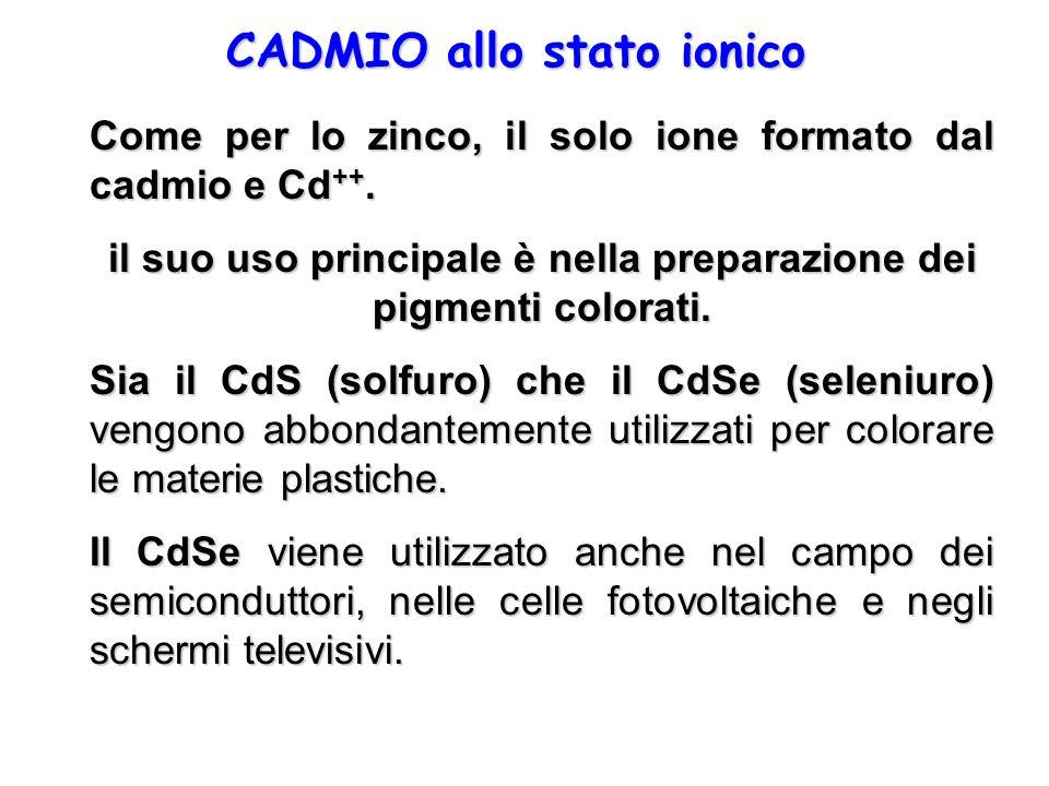 CADMIO allo stato ionico Come per lo zinco, il solo ione formato dal cadmio e Cd ++. il suo uso principale è nella preparazione dei pigmenti colorati.