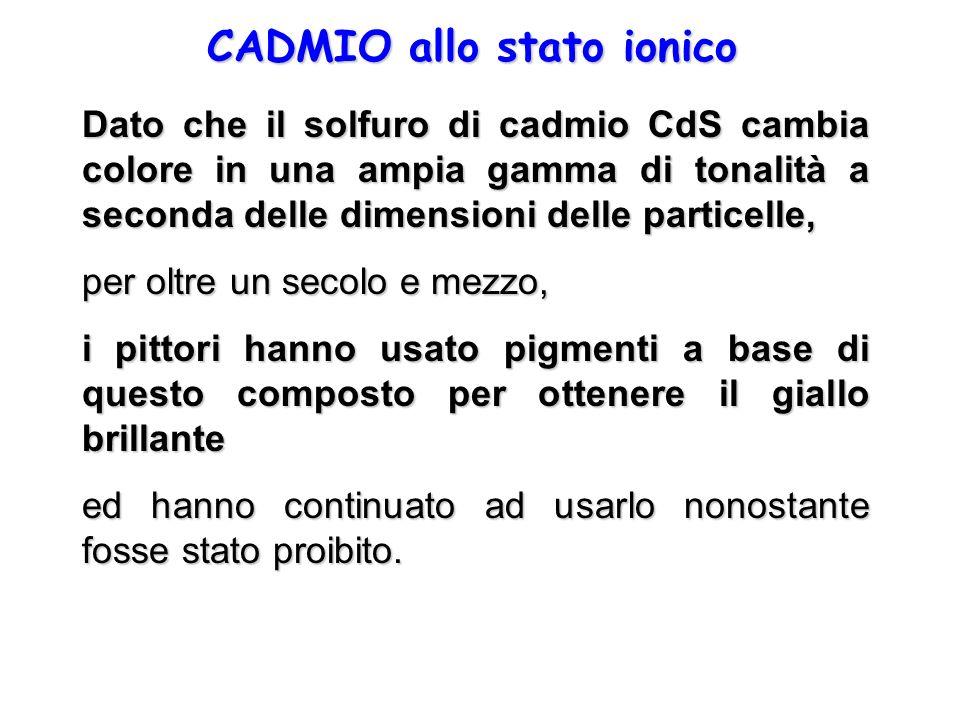 CADMIO allo stato ionico Dato che il solfuro di cadmio CdS cambia colore in una ampia gamma di tonalità a seconda delle dimensioni delle particelle, p