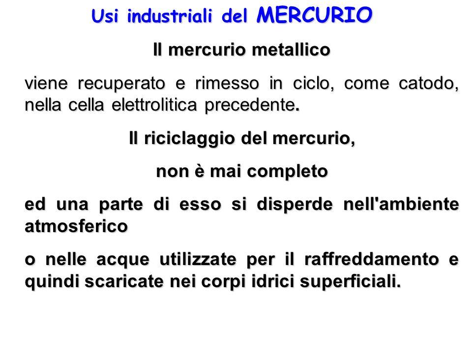 Usi industriali del MERCURIO Il mercurio metallico viene recuperato e rimesso in ciclo, come catodo, nella cella elettrolitica precedente. Il riciclag
