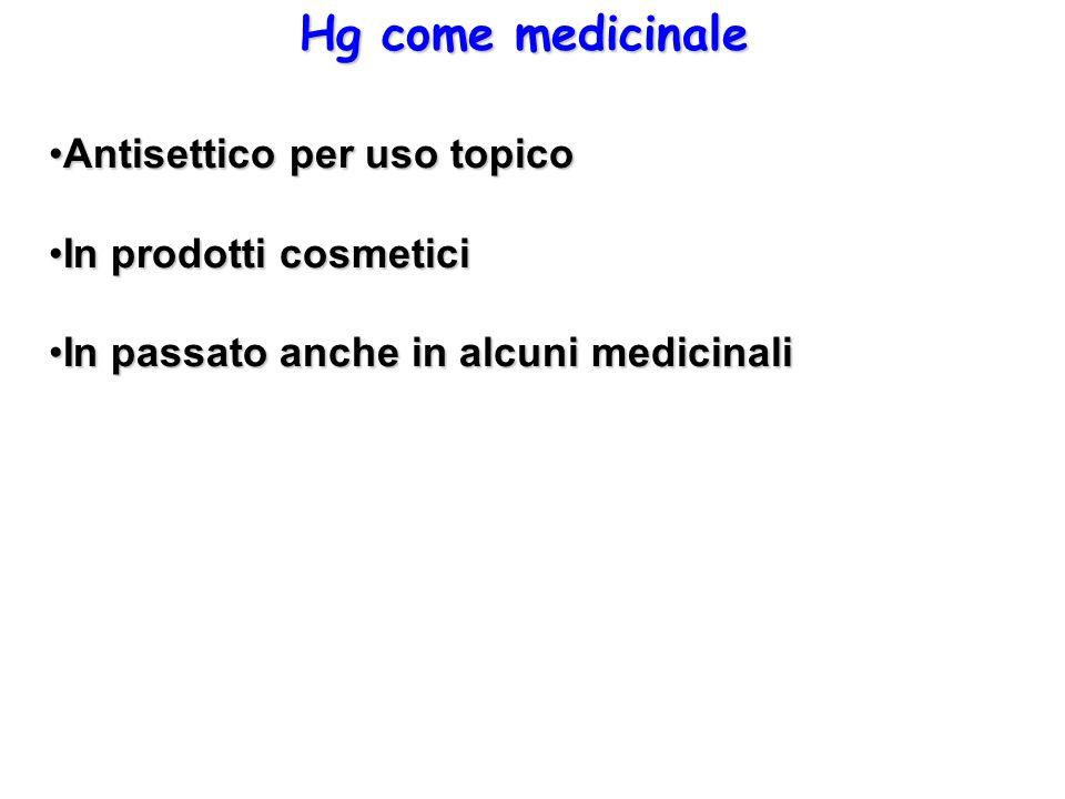 Hg come medicinale Antisettico per uso topicoAntisettico per uso topico In prodotti cosmeticiIn prodotti cosmetici In passato anche in alcuni medicina