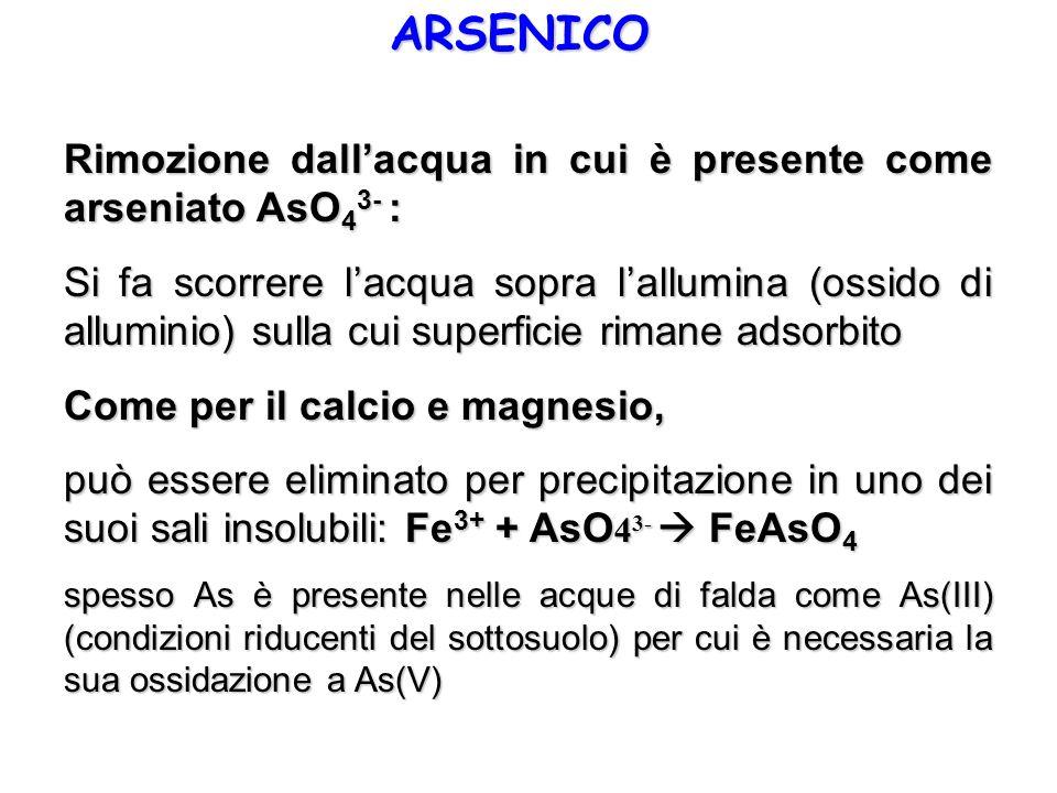 ARSENICO Rimozione dallacqua in cui è presente come arseniato AsO 4 3- : Si fa scorrere lacqua sopra lallumina (ossido di alluminio) sulla cui superfi
