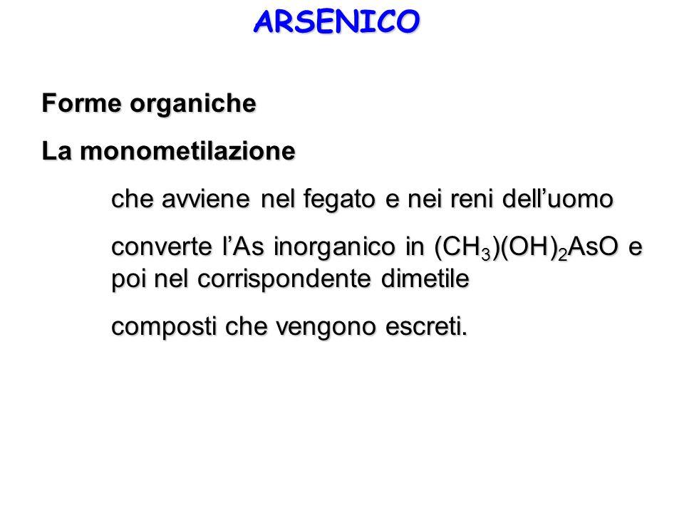 ARSENICO Forme organiche La monometilazione che avviene nel fegato e nei reni delluomo converte lAs inorganico in (CH 3 )(OH) 2 AsO e poi nel corrispo