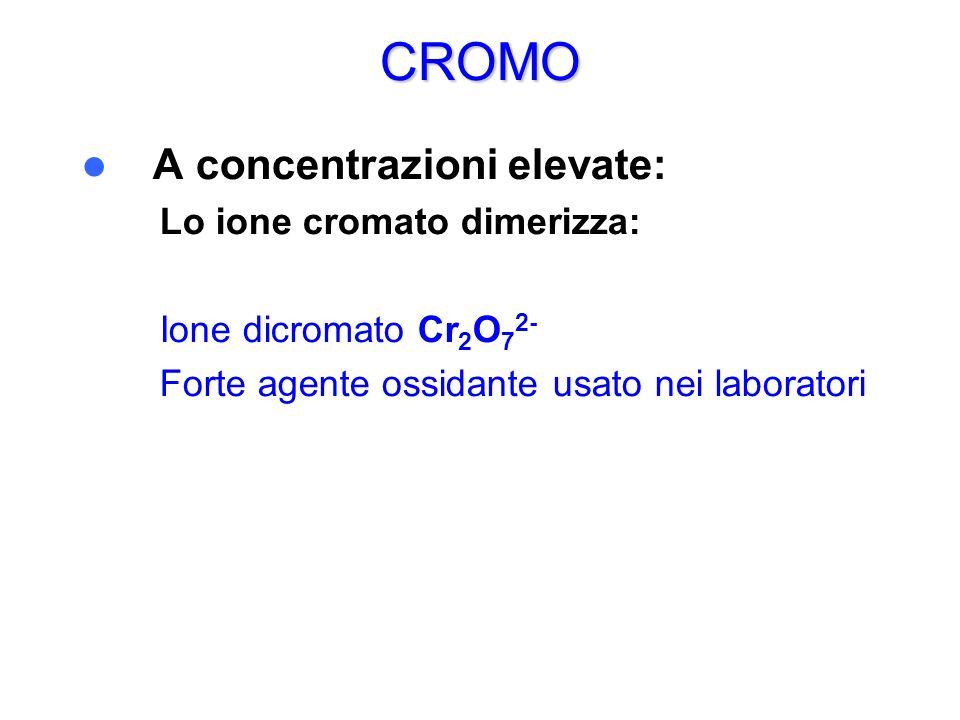 CROMO A concentrazioni elevate: – Lo ione cromato dimerizza: – – Ione dicromato Cr 2 O 7 2- – Forte agente ossidante usato nei laboratori