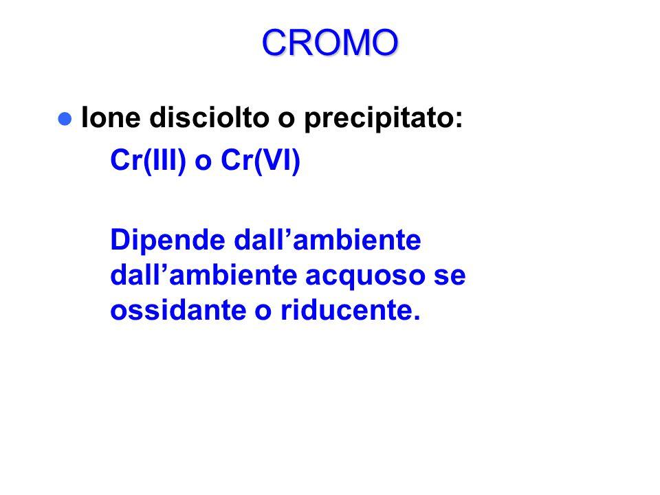 CROMO Ione disciolto o precipitato: – Cr(III) o Cr(VI) Dipende dallambiente dallambiente acquoso se ossidante o riducente.