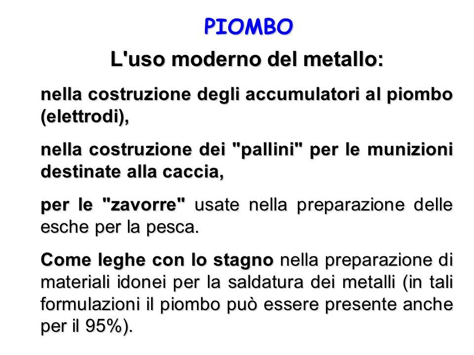 PIOMBO L'uso moderno del metallo: nella costruzione degli accumulatori al piombo (elettrodi), nella costruzione dei