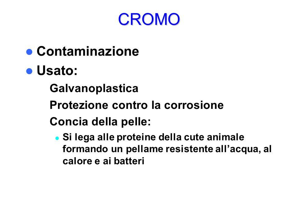 CROMO Contaminazione Usato: – Galvanoplastica – Protezione contro la corrosione – Concia della pelle: Si lega alle proteine della cute animale formand