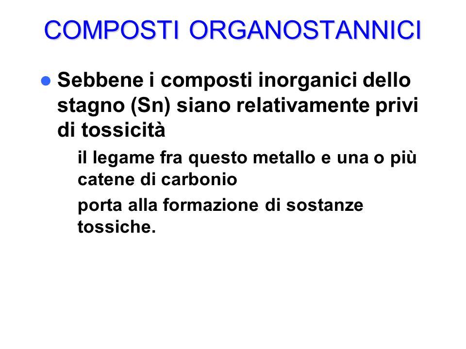 COMPOSTI ORGANOSTANNICI Sebbene i composti inorganici dello stagno (Sn) siano relativamente privi di tossicità – il legame fra questo metallo e una o