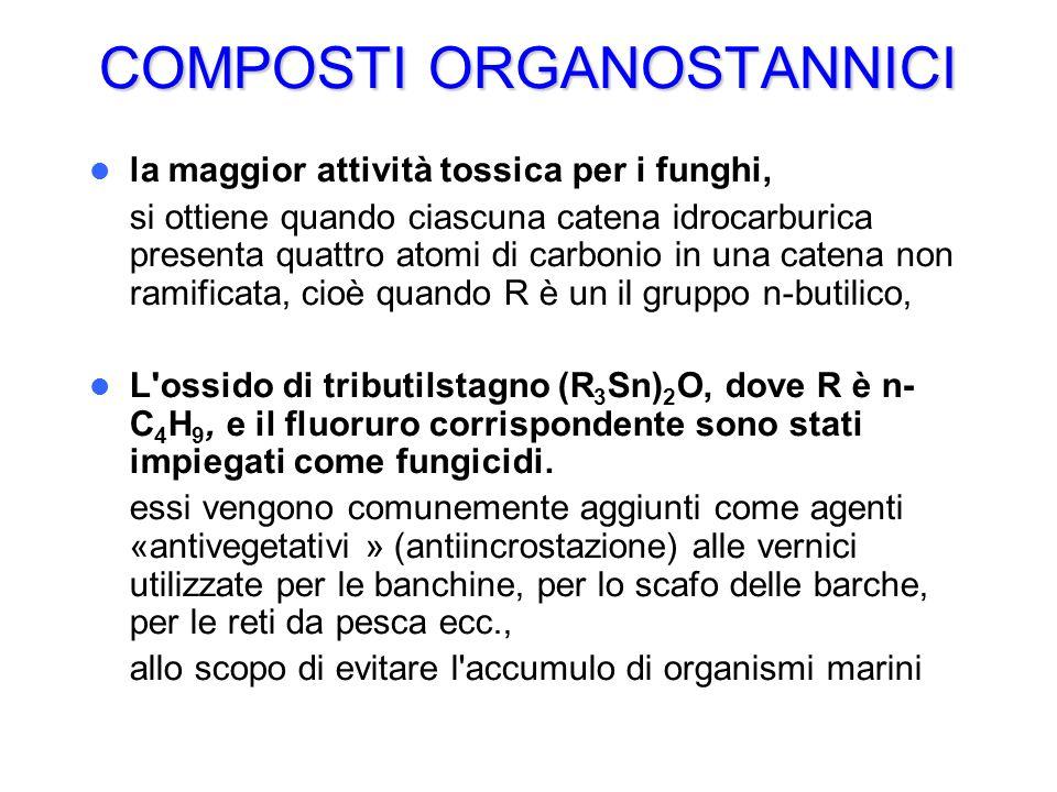 COMPOSTI ORGANOSTANNICI la maggior attività tossica per i funghi, si ottiene quando ciascuna catena idrocarburica presenta quattro atomi di carbonio i