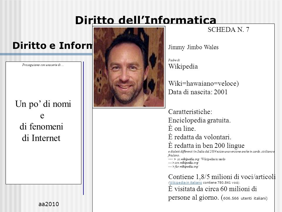 aa2010M.C.De Vivo25 Diritto dellInformatica Diritto e Informatica.