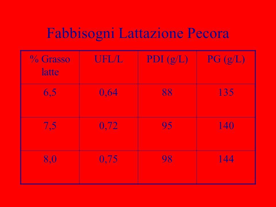 Fabbisogni Lattazione Pecora % Grasso latte UFL/LPDI (g/L)PG (g/L) 6,50,6488135 7,50,7295140 8,00,7598144