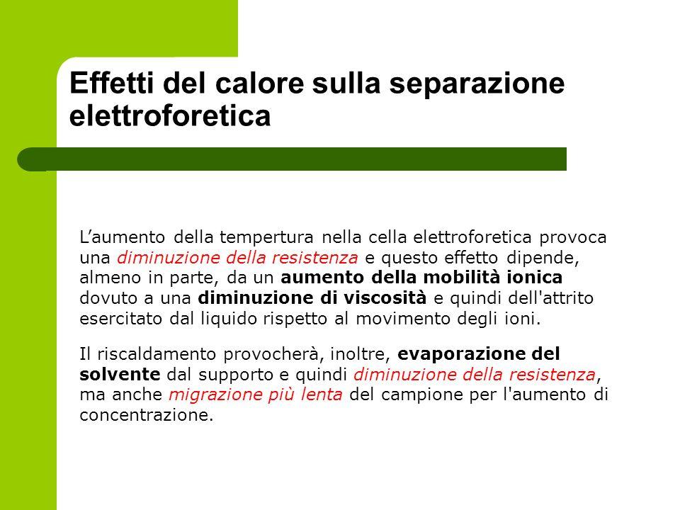 Effetti del calore sulla separazione elettroforetica Laumento della tempertura nella cella elettroforetica provoca una diminuzione della resistenza e