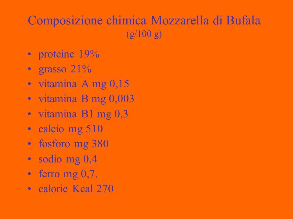 Composizione chimica Mozzarella di Bufala (g/100 g) proteine 19% grasso 21% vitamina A mg 0,15 vitamina B mg 0,003 vitamina B1 mg 0,3 calcio mg 510 fosforo mg 380 sodio mg 0,4 ferro mg 0,7.