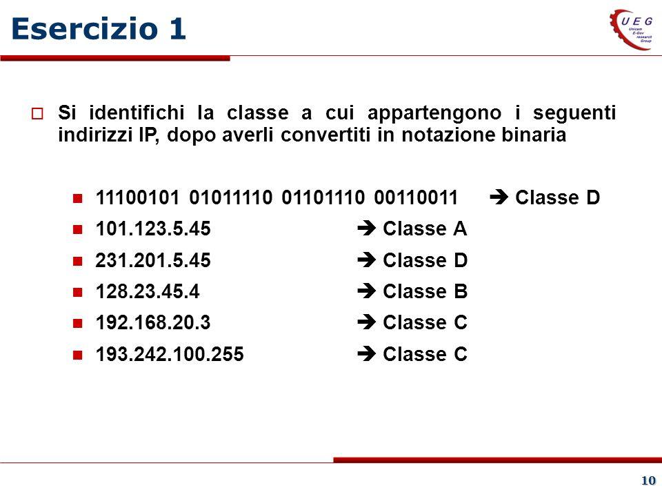 10 Si identifichi la classe a cui appartengono i seguenti indirizzi IP, dopo averli convertiti in notazione binaria 11100101 01011110 01101110 00110011 Classe D 101.123.5.45 Classe A 231.201.5.45 Classe D 128.23.45.4 Classe B 192.168.20.3 Classe C 193.242.100.255 Classe C Esercizio 1