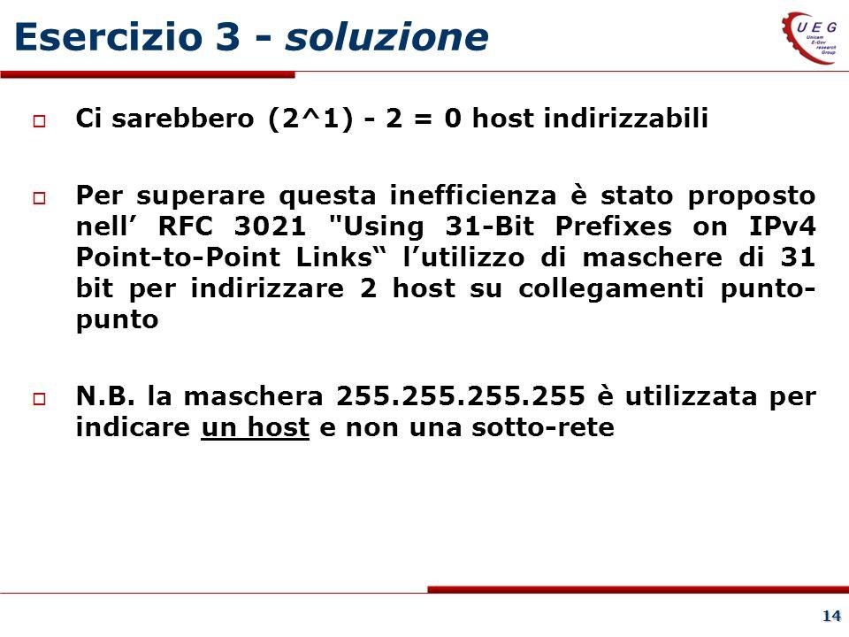 14 Esercizio 3 - soluzione Ci sarebbero (2^1) - 2 = 0 host indirizzabili Per superare questa inefficienza è stato proposto nell RFC 3021 Using 31-Bit Prefixes on IPv4 Point-to-Point Links lutilizzo di maschere di 31 bit per indirizzare 2 host su collegamenti punto- punto N.B.