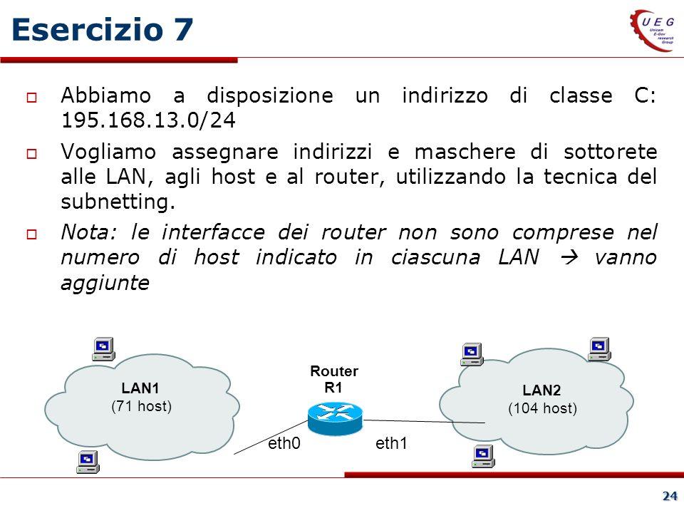 24 Esercizio 7 Abbiamo a disposizione un indirizzo di classe C: 195.168.13.0/24 Vogliamo assegnare indirizzi e maschere di sottorete alle LAN, agli host e al router, utilizzando la tecnica del subnetting.