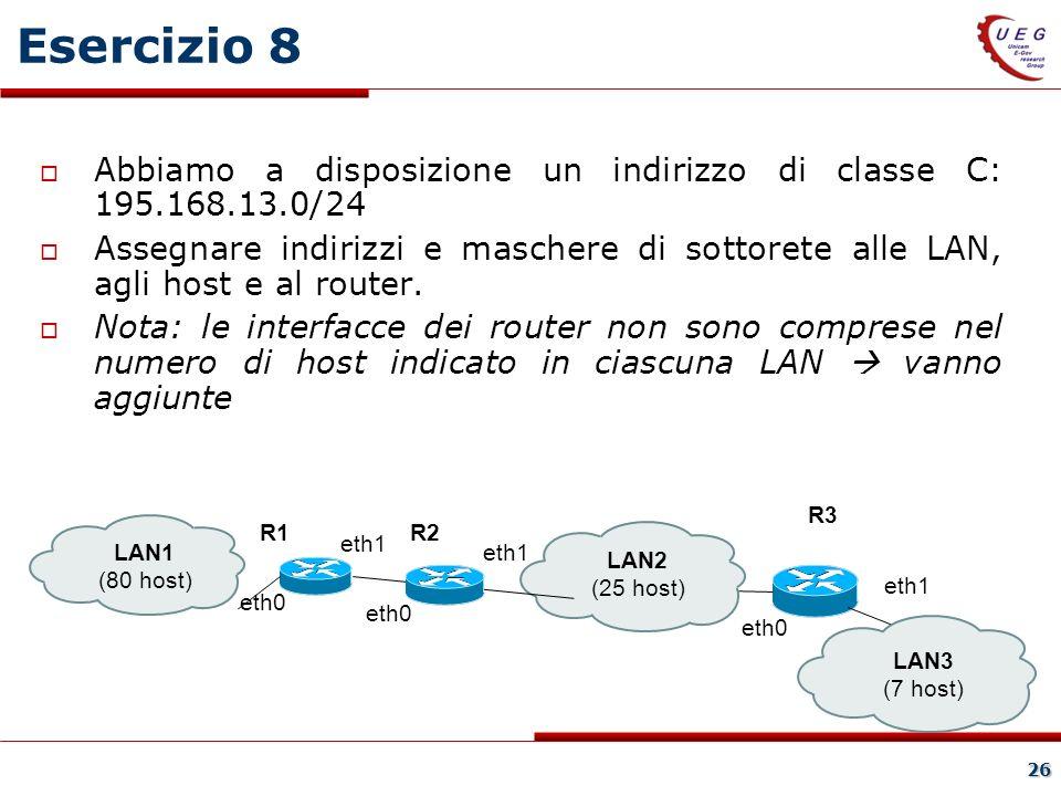 26 Esercizio 8 Abbiamo a disposizione un indirizzo di classe C: 195.168.13.0/24 Assegnare indirizzi e maschere di sottorete alle LAN, agli host e al router.