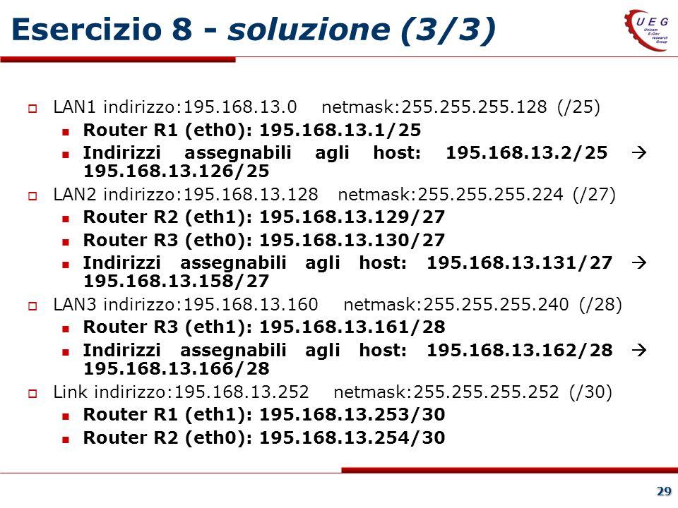29 Esercizio 8 - soluzione (3/3) LAN1 indirizzo:195.168.13.0 netmask:255.255.255.128 (/25) Router R1 (eth0): 195.168.13.1/25 Indirizzi assegnabili agli host: 195.168.13.2/25 195.168.13.126/25 LAN2 indirizzo:195.168.13.128 netmask:255.255.255.224 (/27) Router R2 (eth1): 195.168.13.129/27 Router R3 (eth0): 195.168.13.130/27 Indirizzi assegnabili agli host: 195.168.13.131/27 195.168.13.158/27 LAN3 indirizzo:195.168.13.160 netmask:255.255.255.240 (/28) Router R3 (eth1): 195.168.13.161/28 Indirizzi assegnabili agli host: 195.168.13.162/28 195.168.13.166/28 Link indirizzo:195.168.13.252 netmask:255.255.255.252 (/30) Router R1 (eth1): 195.168.13.253/30 Router R2 (eth0): 195.168.13.254/30