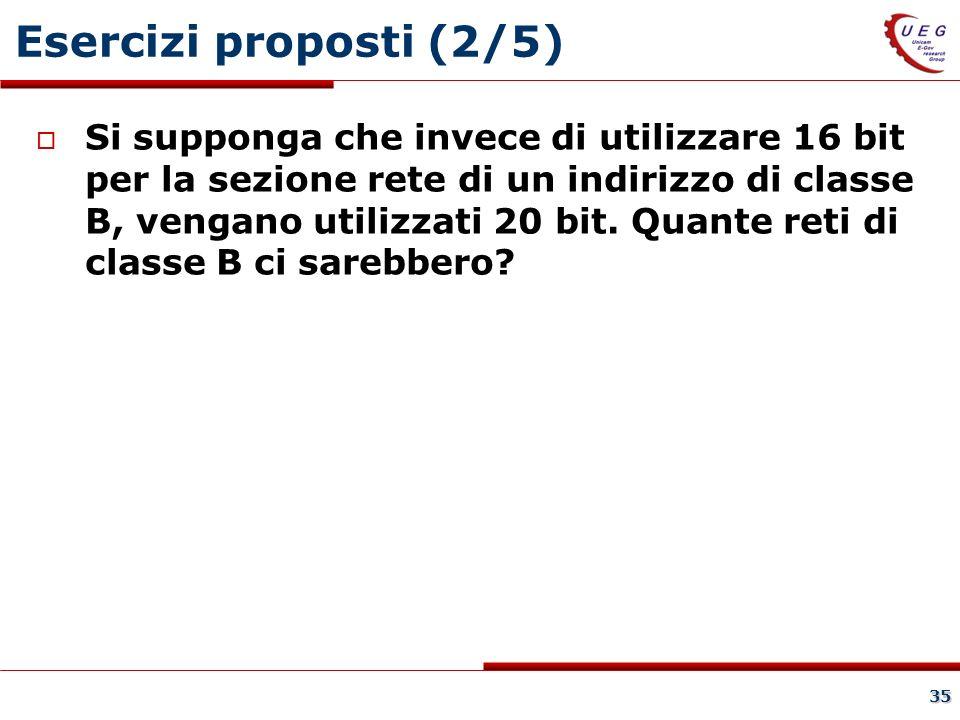 35 Esercizi proposti (2/5) Si supponga che invece di utilizzare 16 bit per la sezione rete di un indirizzo di classe B, vengano utilizzati 20 bit.