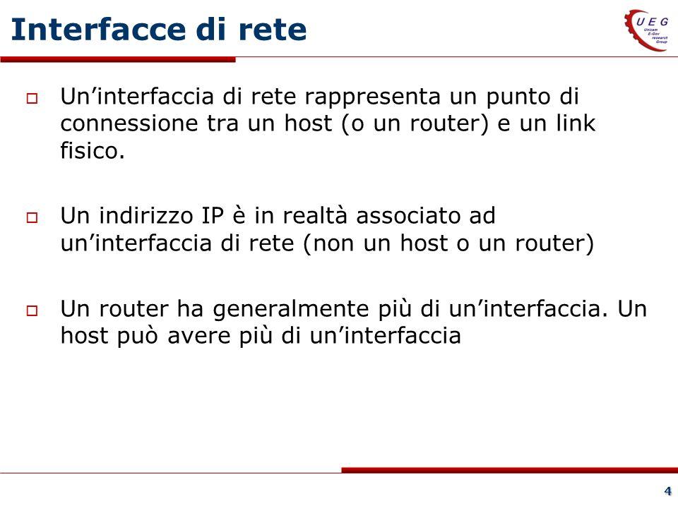 4 Interfacce di rete Uninterfaccia di rete rappresenta un punto di connessione tra un host (o un router) e un link fisico.