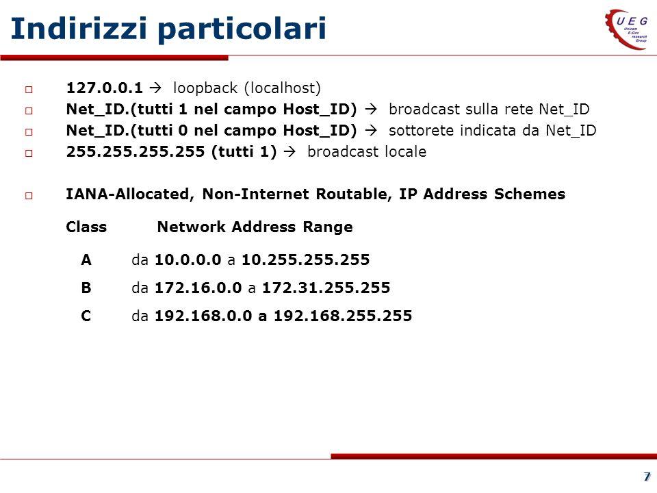 7 Indirizzi particolari 127.0.0.1 loopback (localhost) Net_ID.(tutti 1 nel campo Host_ID) broadcast sulla rete Net_ID Net_ID.(tutti 0 nel campo Host_ID) sottorete indicata da Net_ID 255.255.255.255 (tutti 1) broadcast locale IANA-Allocated, Non-Internet Routable, IP Address Schemes Class Network Address Range Ada 10.0.0.0 a 10.255.255.255 Bda 172.16.0.0 a 172.31.255.255 Cda 192.168.0.0 a 192.168.255.255