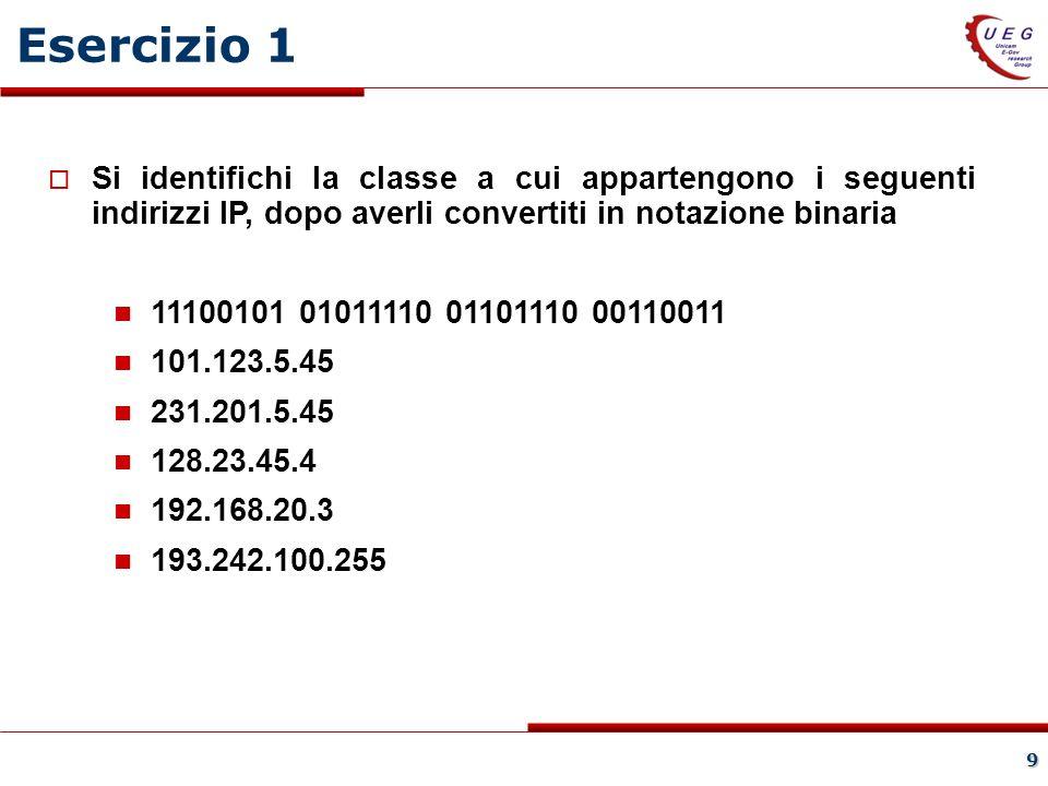 9 Si identifichi la classe a cui appartengono i seguenti indirizzi IP, dopo averli convertiti in notazione binaria 11100101 01011110 01101110 00110011 101.123.5.45 231.201.5.45 128.23.45.4 192.168.20.3 193.242.100.255 Esercizio 1