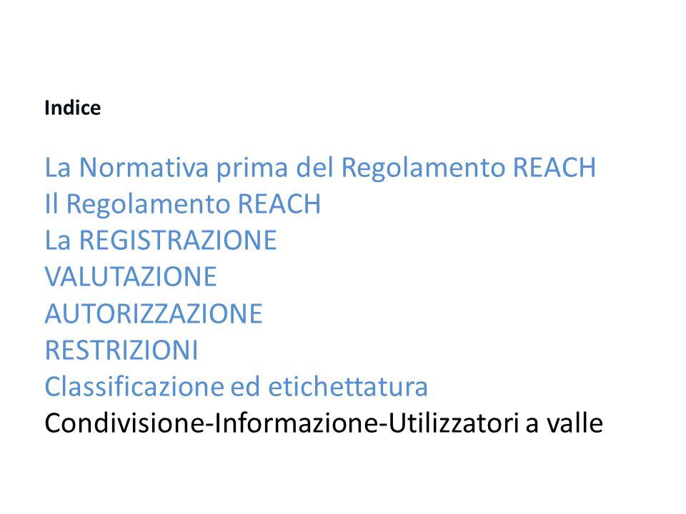 Indice La Normativa prima del Regolamento REACH Il Regolamento REACH La REGISTRAZIONE VALUTAZIONE AUTORIZZAZIONE RESTRIZIONI Classificazione ed etichettatura Condivisione-Informazione-Utilizzatori a valle