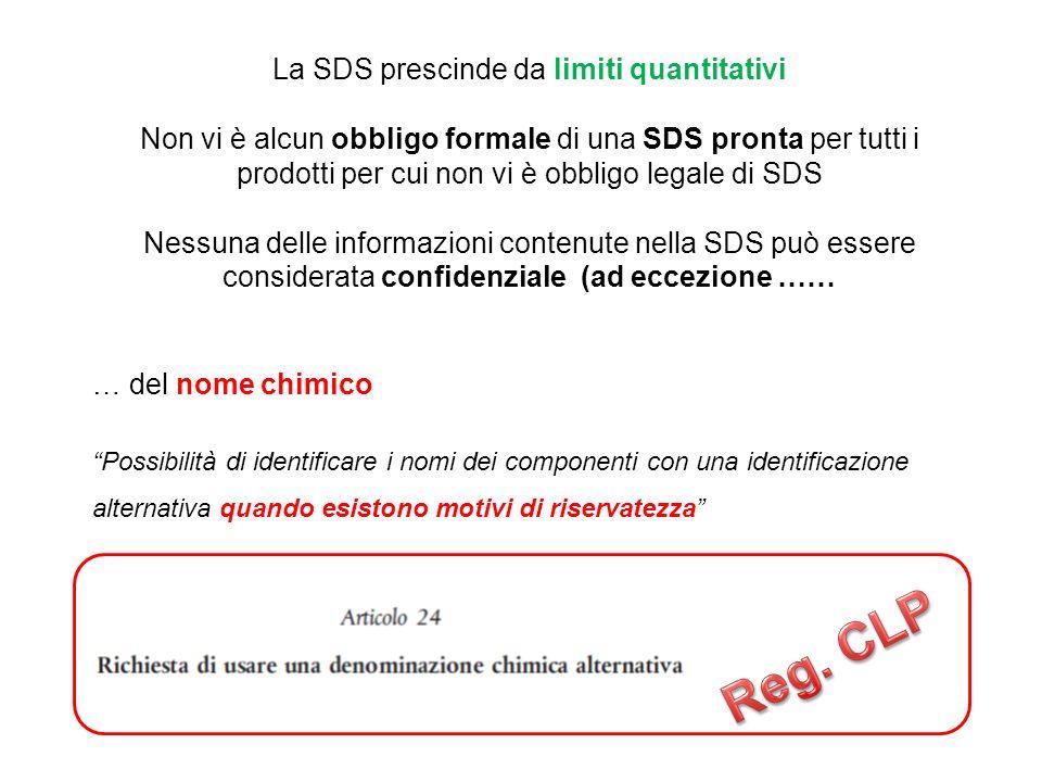 La SDS prescinde da limiti quantitativi Non vi è alcun obbligo formale di una SDS pronta per tutti i prodotti per cui non vi è obbligo legale di SDS Nessuna delle informazioni contenute nella SDS può essere considerata confidenziale (ad eccezione …… … del nome chimico Possibilità di identificare i nomi dei componenti con una identificazione alternativa quando esistono motivi di riservatezza