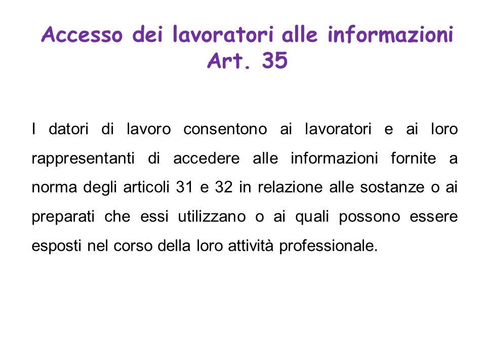 I datori di lavoro consentono ai lavoratori e ai loro rappresentanti di accedere alle informazioni fornite a norma degli articoli 31 e 32 in relazione